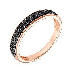 Кольцо в красном золоте Вальс с черными фианитами