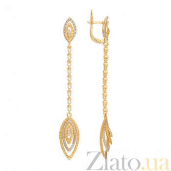 Удлиненные серьги Карина из желтого золота VLT--ТТТ2333