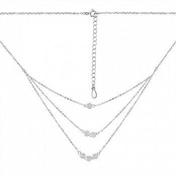 Срібне кольє з потрійним ланцюжком і фіанітами 000126871