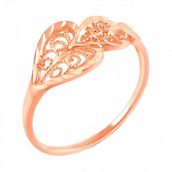 Каблучка з червоного золота з алмазною гранню 000103800