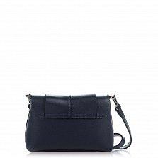 Кожаный клатч Genuine Leather 1382 темно-синего цвета с декором на клапане и плечевым ремнем