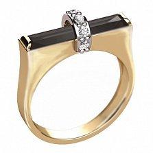 Золотое кольцо с агатом и фианитами Мосты любви