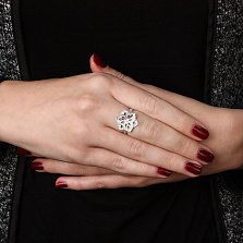 Серебряные кольцо Орхида с цирконием