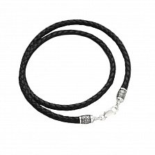 Кожаный шнурок Спаси и сохрани с серебряной застежкой и чернением