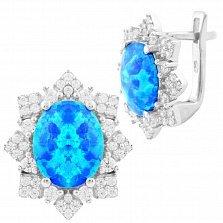 Серебряные серьги Зимний бал с голубым опалом и фианитами