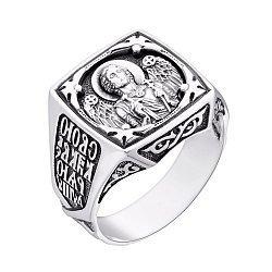Мужской серебряный перстень-печатка Архангел Михаил с чернением