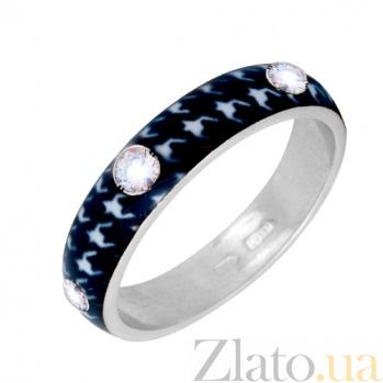Золотое кольцо Пастель с фианитами и эмалью гусиные лапки К221бел/гл