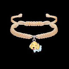 Детский плетеный браслет Собачка с эмалью и фианитом, 10-20см
