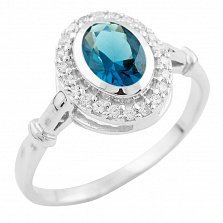 Серебряное кольцо Виталия с топазом лондон и фианитами