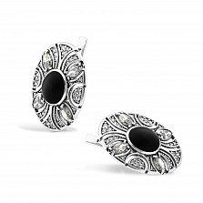 Серебряные серьги Карима с имитацией черного оникса и белыми фианитами