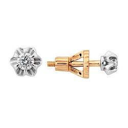 Золотые серьги-пуссеты с бриллиантами Джуди