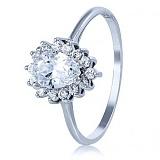 Золотое кольцо Фаина в белом цвете с кристаллом Swarovski и фианитами