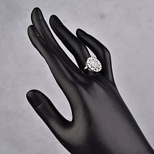 Серебряное кольцо Ажурный цветочек в круге с фианитами в стиле Булгари