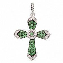 Золотой крест Дриада с зелёными гранатами и бриллиантами