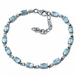 Серебряный браслет с голубым топазом и фианитами 000076233