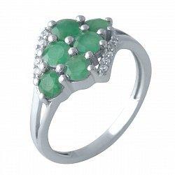 Серебряное кольцо с изумрудами, фианитами и родированием 000128477