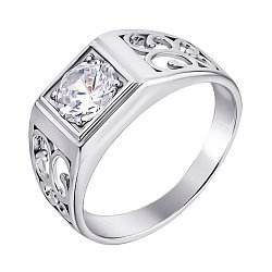 Серебряный перстень-печатка с фианитом 000140544
