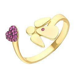 Разомкнутое кольцо в желтом золоте с рубинами 000095562