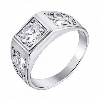 Срібний перстень-печатка з фіанітом 000140544