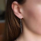 Серебряные серьги-протяжки Лита с фианитами