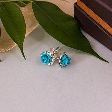 Серебряные серьги-пуссеты Розовчки с голубой керамикой и фианитами