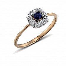 Кольцо из красного золота Эстер с бриллиантами и сапфиром