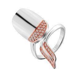 Серебряное кольцо-ноготь с позолотой и цирконием 000028036