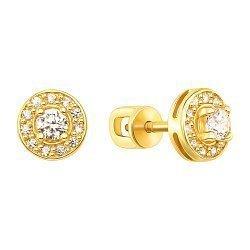 Серьги-пуссеті из желтого золота с фианитами 000130454