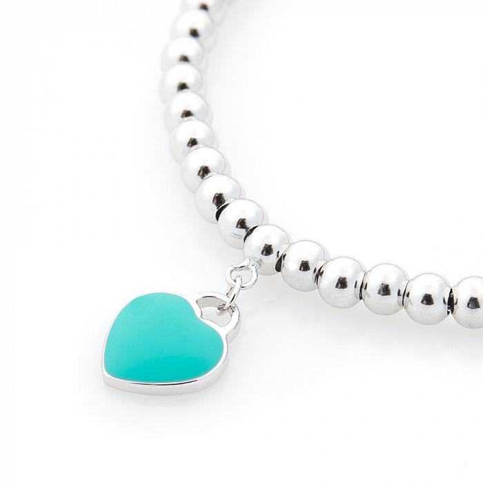 Серебряный браслет с голубой эмалью 000069871 000069871