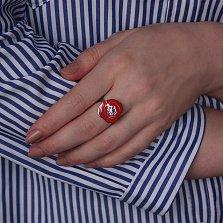 Серебряное кольцо Полевой мак с красно-черной эмалью