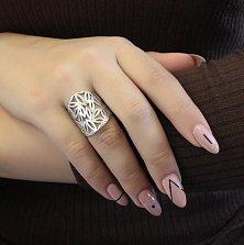 Серебряное родированное кольцо Памелла с узорной шинкой