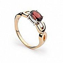 Золотое кольцо Кармен с гранатом