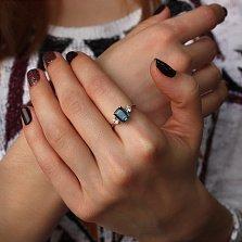 Золотое кольцо Хелена с лондон топазом и фианитами