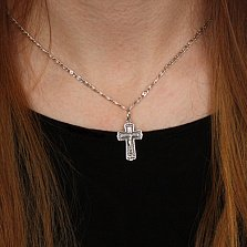 Серебряный крест Благостная защита с чернением