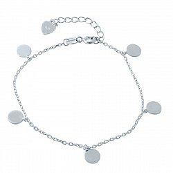 Серебряный браслет  с подвескми в форме круга 000118724