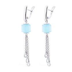 Серебряные серьги с подвесками-цепочками с голубыми улекситами и цирконием 000127732