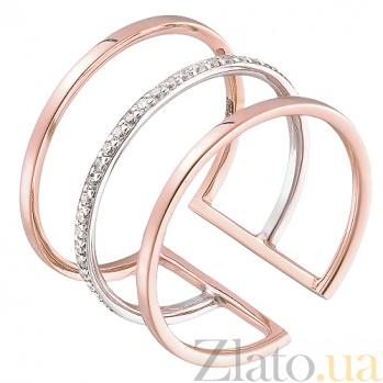 Кольцо из красного золота с цирконием HUF--700055