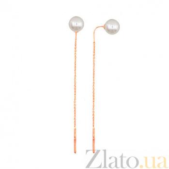 Золотые серьги-цепи Утонченность с жемчугом VLT--Н2496