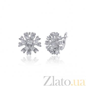 Серебряные сережки с цирконием Астранция 000024685