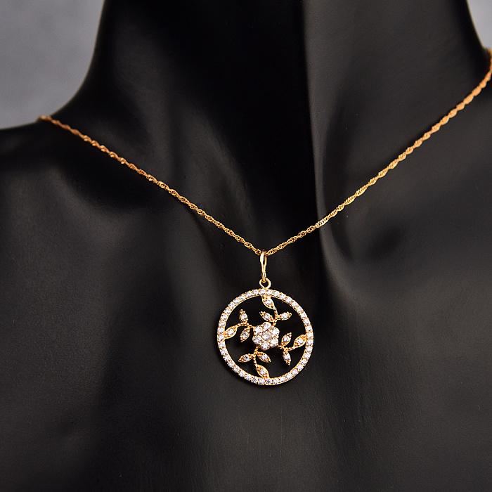 Кулон из красного золота Волшебный цветок с фианитами 000080388