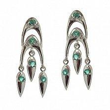 Серебряные серьги с бриллиантами и изумрудами София