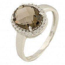 Серебряное кольцо Модестина с раухтопазом и фианитами