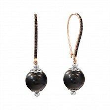 Золотые серьги-подвески Лейла с черными агатами и фианитами