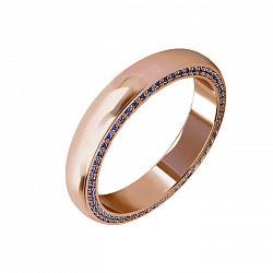 Мужское обручальное кольцо Флорида с дорожкой сапфиров на боковой стороне шинки
