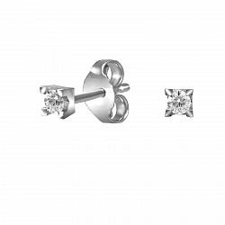 Серьги-пуссеты из белого золота Полина с бриллиантами