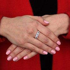 Серебряное кольцо Незабудки с синими и белыми фианитами