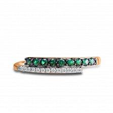 Золотое кольцо Алекса в красном цвете с дорожками бриллиантов и изумрудов