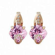 Золотые серьги Эвелин с розовым топазом и фианитами