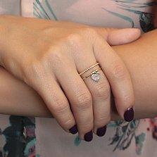 Кольцо Любимое в желтом золоте с двойной шинкой и родированной подвеской-сердцем в стиле Тиффани