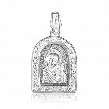 Серебряная родированная ладанка Казанская Божья матерь с фианитами